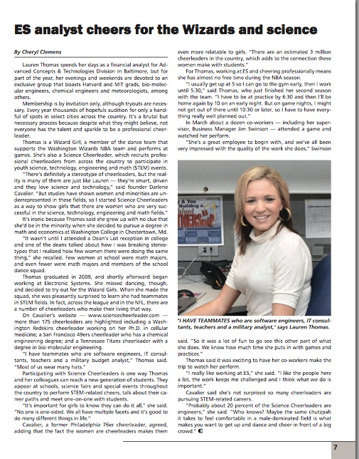 Science Cheerleader Lauren featured in Northrop Grumman magazine