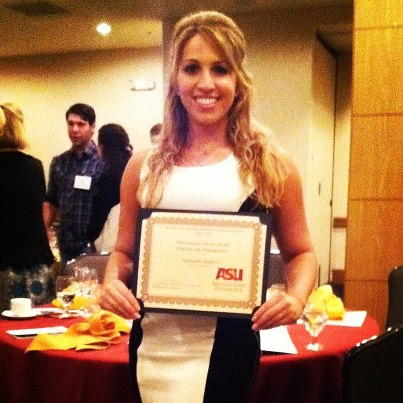 "Samantha: Arizona Cardinals cheerleader, ASU 2013 ""Outstanding Senior, Engineering Management"""