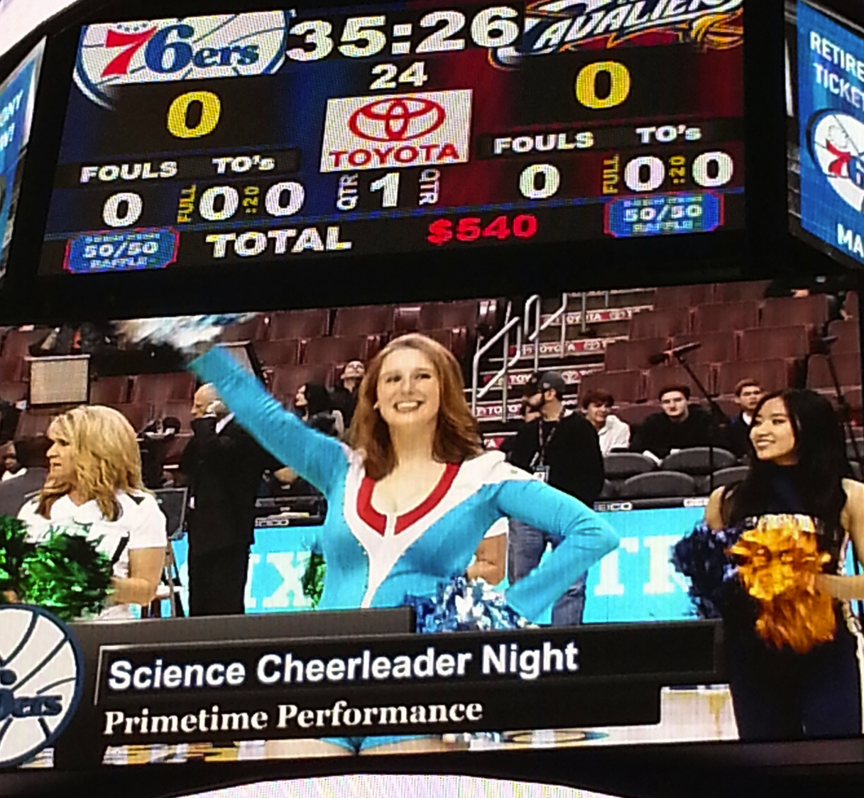 Science Cheerleader Night at the Philadelphia 76ers game