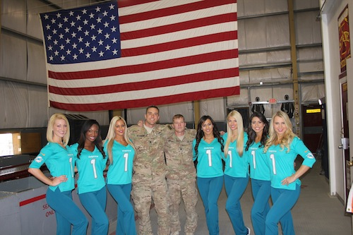 Cheering on Vets, including  Science Cheerleaders who served our country